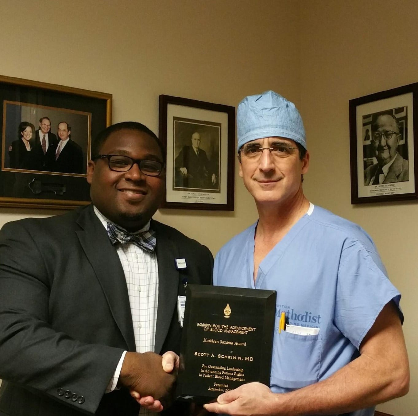 Dr. Scott A. Scheinin (right) pictured with Cedric Bates (left) from Houston Methodist