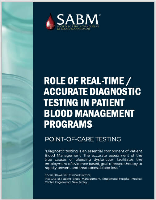 Diagnostic Testing in Patient Blood Management Programs